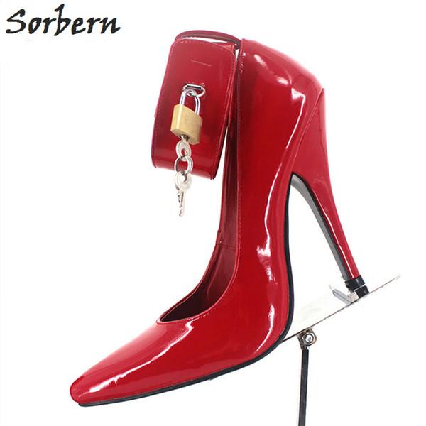 Sorbern Sexy Bdsm Women Pumps High Heels Ankle Straps Lock Keys Pole Dance Party Shoes Night Club Footwear Pump Heels Size 12