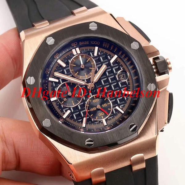 Reloj deportivo 26401RO Royal para hombre Movimiento de cuarzo VK bicolor Caja de oro rosa bisel negro Reloj de pulsera Banda de caucho 44 mm Reloj de lujo