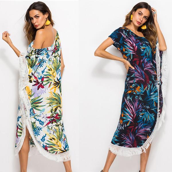Compre Vestidos Sin Hombros Batas Estampadas Borla Asimétrica Contraste De Flores Color Manga Corta Caza Viento Suelta Cintura Suelta Parte Trasera