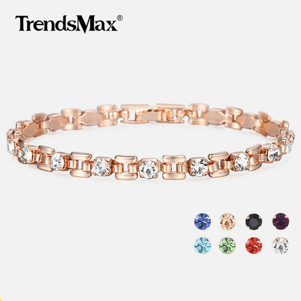 8 Color Pulseras de Circonio Cúbico Para Mujeres 585 Oro Rosa Cuadrado Enlace Pulsera Novia Regalos Mujer Joyería 20.6 cm GBM101