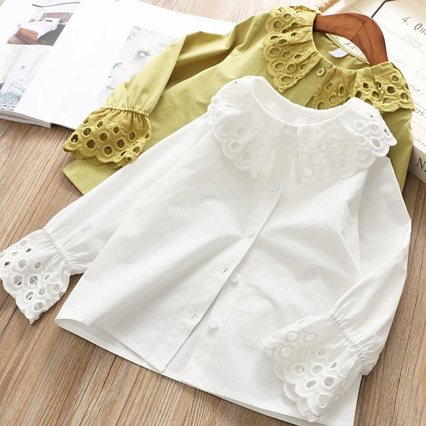 2019 Spring new girls shirt kids lace hollow embroidered falbala lapel flare sleeve blouse fashion children princess tops pink white F3627