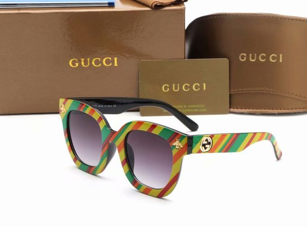 2PCS Designer Bee Sunglasses Women Fashion Colorful Striped Frame Sun glasses Kanye West Cheap European Square Eyewear 0116