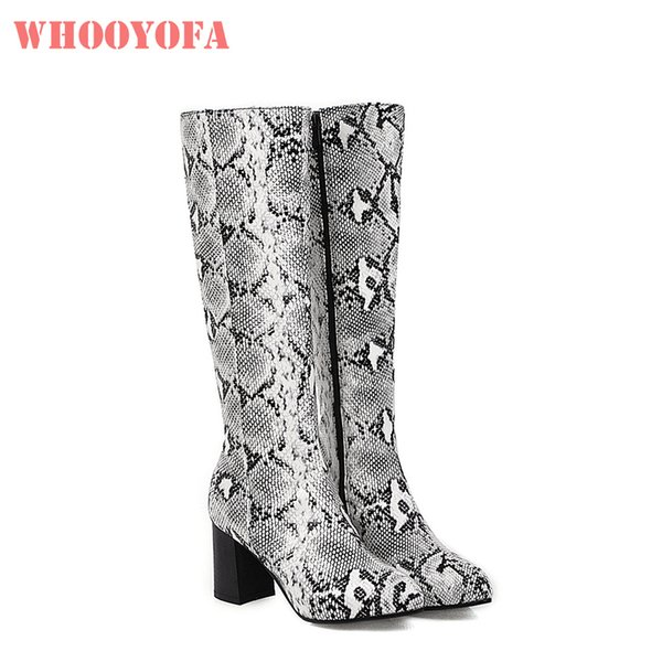 2019 Brand New Fashion Round Toe White Red Women Knee High Boots High Heels Lady Riding Shoes WL354 Plus Big Size 10 43 45 48