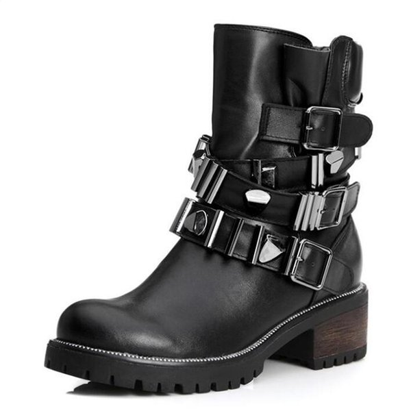 Hot selling 2019 Newest Fashion Autumn and Winter shoes Women Shoes Cowhide Leather Boots Martin Boots Plus Velvet Warm Motorcycle Boots