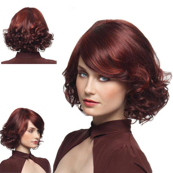 Lady's Slant Bang Wig Borgoña Side Party Pelo corto y rizado Fluffy Pear Blossom Curls 35 cm de largo