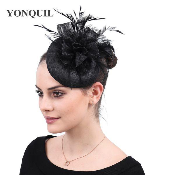Black fascinator for weddings women elegant party tea church fedora hats ladies bridal wedding headwear hair clips accessory free shipping