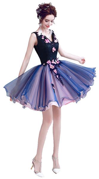 2020 Fashion V Neck Backless Colorido Flores de color rosa y azul marino Lace Short Mini Tulle Vestidos de baile Pearl Party Girl Gowns Ocasión especial