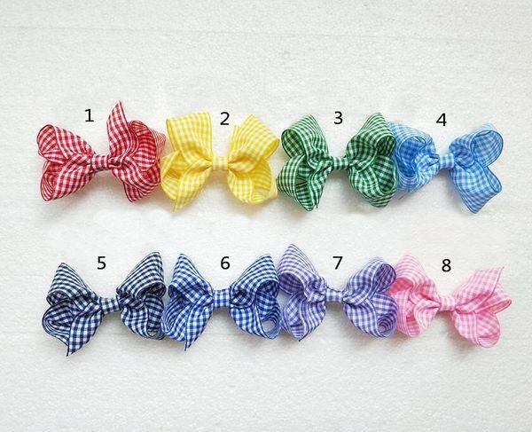 """24pcs Baby 3"""" gingham plaid hair bows clips hair ties accessories girl Princess ABC hairbows headwear hair elastic bobbles HD3550"""