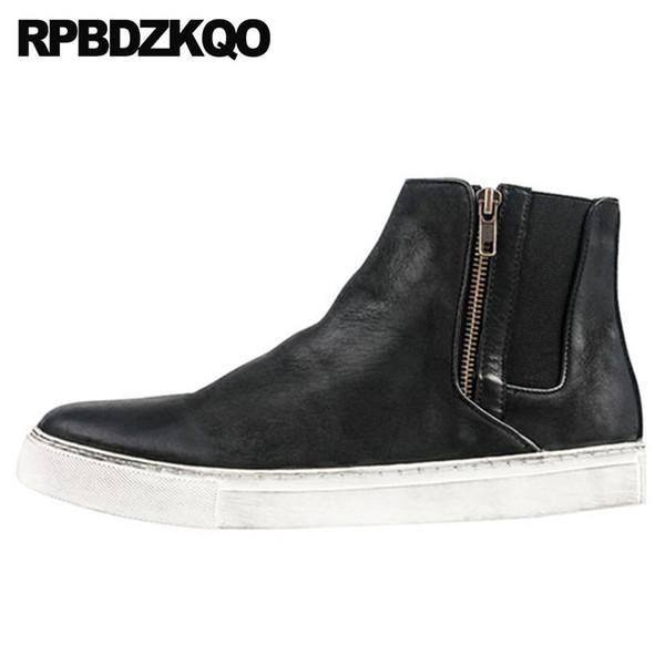 formateur zipper chaussures élégantes automne haut top noir occasionnels court bottillons en cuir véritable chaussures vintage hommes bottes pleines de grains