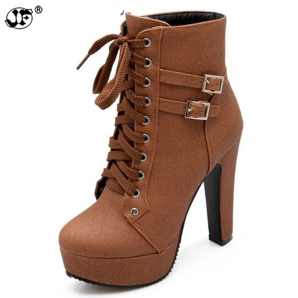 Plus Size Ankle Boots For Women Platform High Heels Female Lace Up Shoes Woman Buckle Short Boot Botas Feminino 633