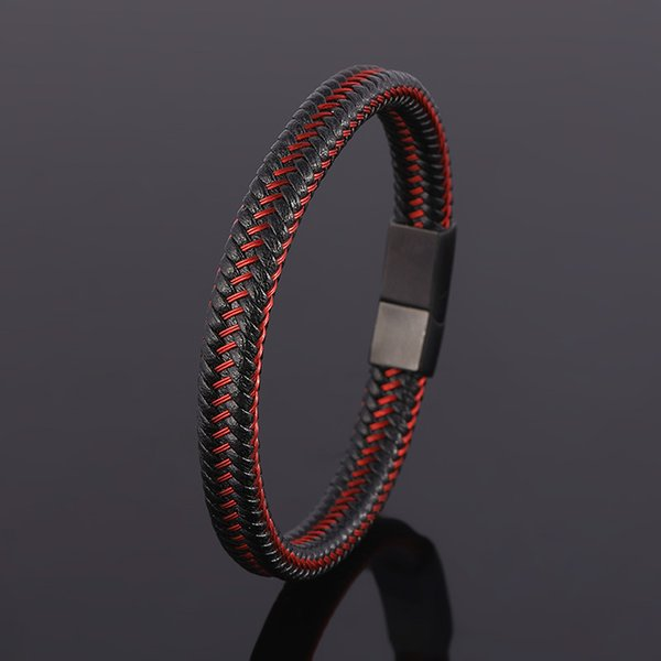 mens bracelet red Genuine Leather Bracelet Jewelry Stainless Steel Infinity Bangle Magnetic Clasp Braid Trendy Chain For Male