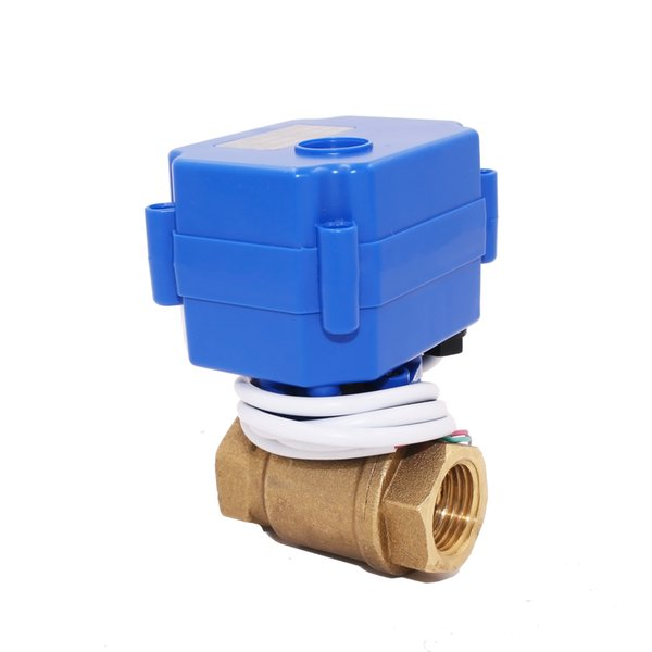 YIDAY 1/2 '' Motorized Ball Valve Brass Ball Valve 9-24V AC/DC and 3 Wire NPT or BSP Thread