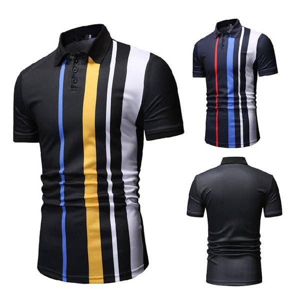 Camisa de hombre Mezclas de algodón Botón a rayas Tops casuales Slim Moda Deportes de negocios Camisa de manga corta para hombres