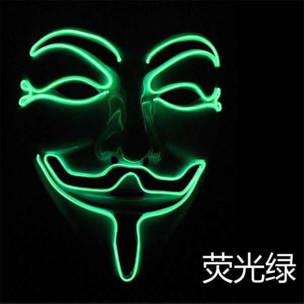 Cadılar bayramı Kostüm Partisi LED ışıklı maske EL soğuk ışık manuel aydınlatma, yüz hayaletler dans V kelime öldürmek takım maskesi A2250c