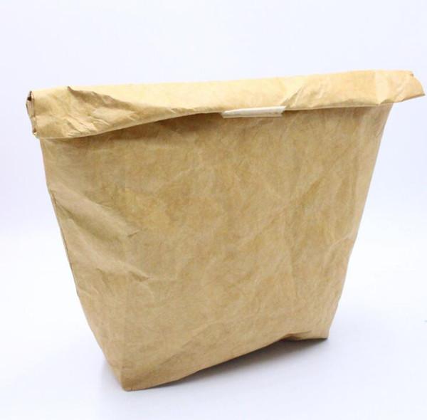 Bolsa de almuerzo reutilizable de papel kraft La protección del medio ambiente puede disolver la bolsa de almuerzo de la película de aluminio de papel DuPont Bolsa de almuerzo