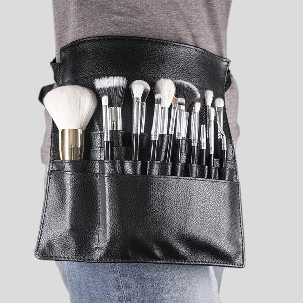 Tamax Nova Moda Pincel de Maquiagem Titular Estande 22 Bolsos Cinta Preto Cinto Saco de Cintura Salon Maquiagem Artista Cosméticos Escova Organizador
