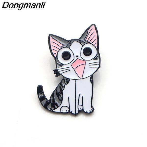 P3565 Dongmanli Chi dolce casa gatti carino metallo smalto spille e spille per la moda risvolto zaino borse regalo distintivo