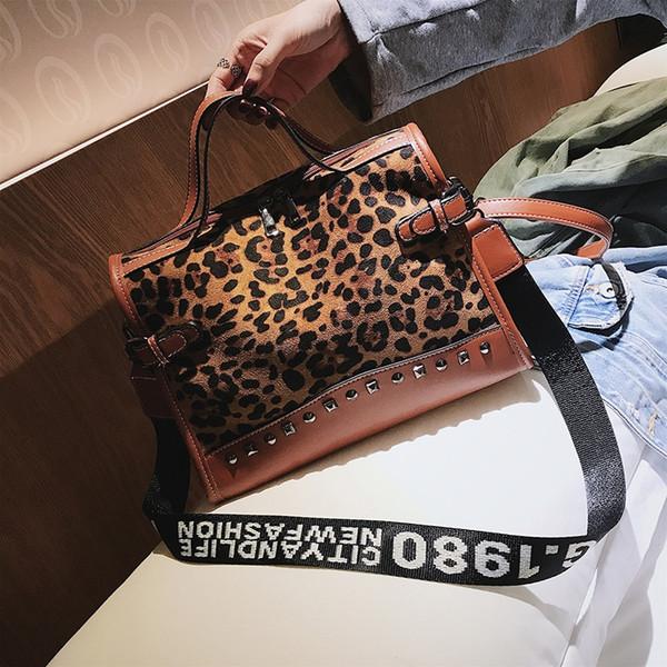 Leopard totes handbag Women Scrub shoulder bag Rivet 2019 Patchwork crossbody bag