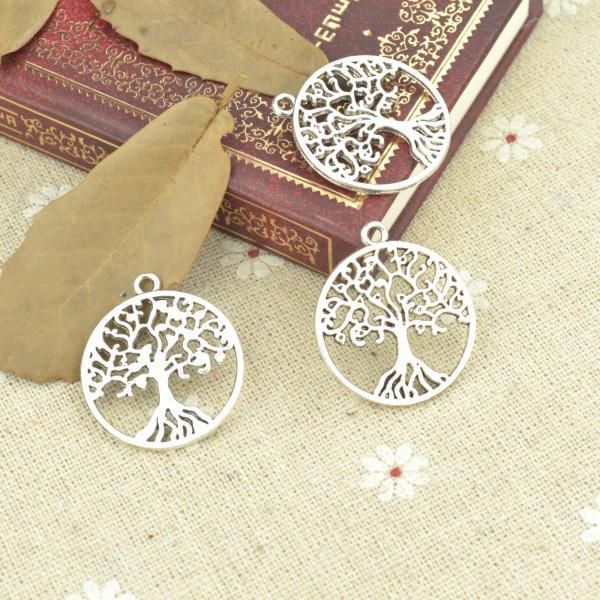 harms tibetan silver Wholesale 50pcs/lot metal antique alloy charm tibetan silver round life tree pendant fit jewelry making Z42725 free ...