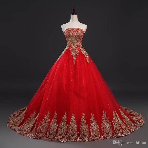 Red Ball Gown Lace Applique Strapless Wedding Dress Bridal Gown Custom Plus Size lace Up Back Wedding Formal Occasion