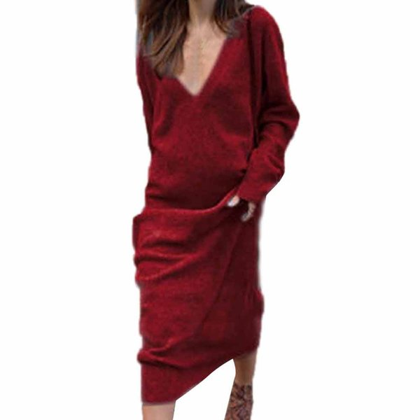 Autumn Ladies Elegant Loose Casual Knitted Long Dress Women Spring V-neck Long Sleeve Solid Jumper Shirt Maxi Party Dresses #lh J190601