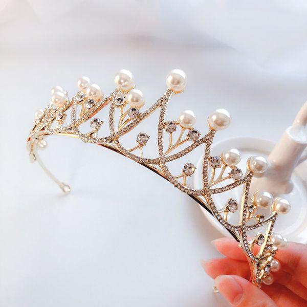 Top Grade Princess Gold Silver Crystals Bridal Tiaras Crowns Bridal Headpieces Bridal Accessories Wedding Tiaras/Crowns T308828