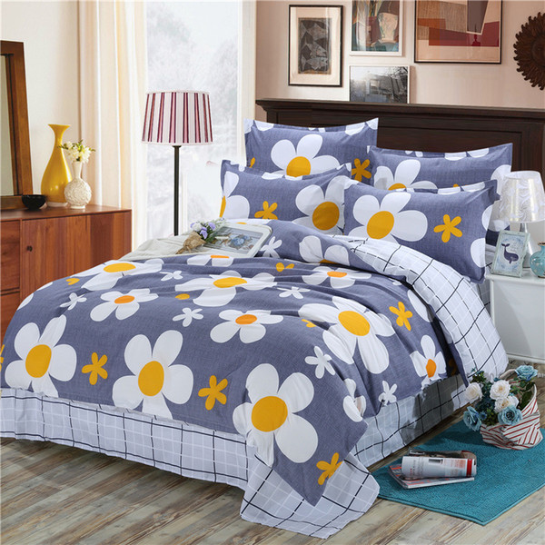 Home Textile Blue Pastoral Flowers Printed Bedding Set 3/4pcs Bed Linen Include Duvet Cover Bed Sheet Pillowcase Queen King Size