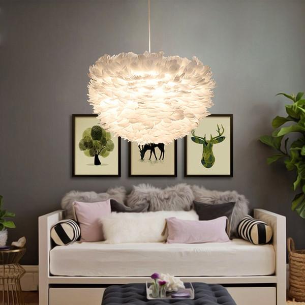 Großhandel 2019 Modern White Natur Gänsefederpendelleuchten Romantische E27  LED Pendelleuchten Für Hausbeleuchtung Restaurant Schlafzimmer Wohnzimmer  ...