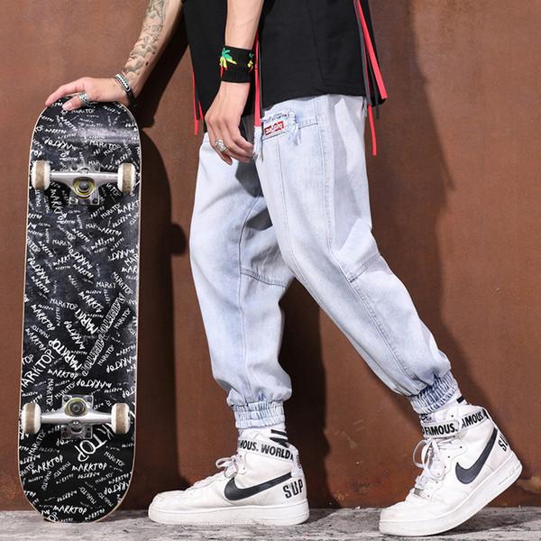 Han Chic Herren Street Loose Buckles, Hip-Hop Workwear Hell verwaschene Jean Ins Tide Man und Herren Designerjeans