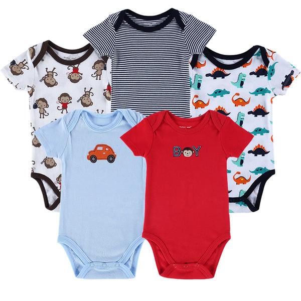 Ninho da mãe 5 Peças / lote Bebê Recém-nascido Corpo Meninos Meninas Infantil Menino Roupa Infantil 0-12 Meses Romper Do Bebê Y19050602