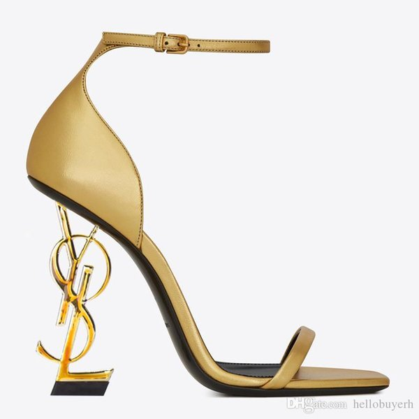 2019 Gold Patent Leather Heel Fashion Bridal Wedding Shoes Modest Fashion Eden High Heel Women Party Evening Party Dress Shoes 10cm Heel