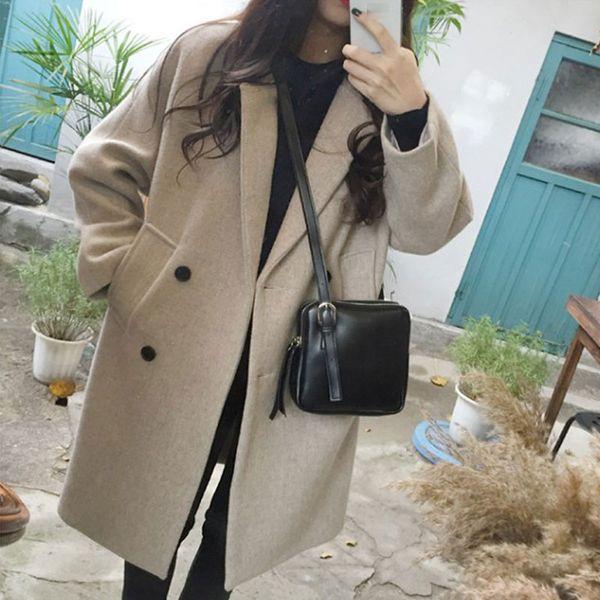 Nuevo abrigo de mezcla de lana fina para mujer de manga larga con cuello vuelto chaqueta informal casual otoño invierno elegante abrigo