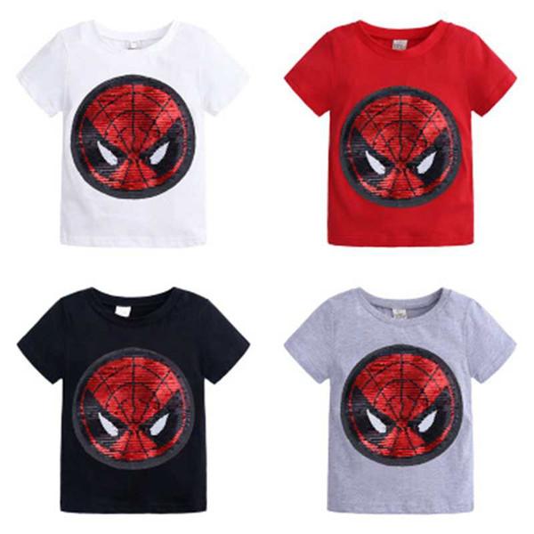 Reversible de las lentejuelas niños de algodón camiseta tops Capitán América Spiderman rebordear Tees mágico Unisex Manga corta decoloración
