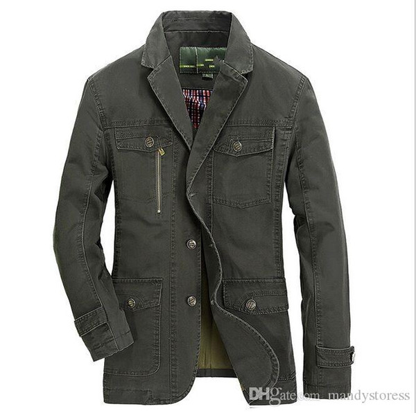 Wholesale- Spring Men's Jacket Jeeps Size Loose Business Casual Suit Small Spring Coat Jacket Tooling Tide EDA1314