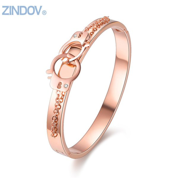 Rose Gold Jewelry Stainless Steel Women Cuff Bangle Bracelets Hand Cuff Design Silver Color Not Fade Lady Brand Fine Accessories C19010401