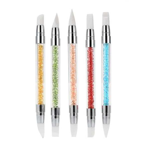 Nail Art Silicone Carving Pen 5Pcs Soft Craft Supplies Pottery Sculpture Building Clay Nail Art Pencil DIY dotting Tools TTA396
