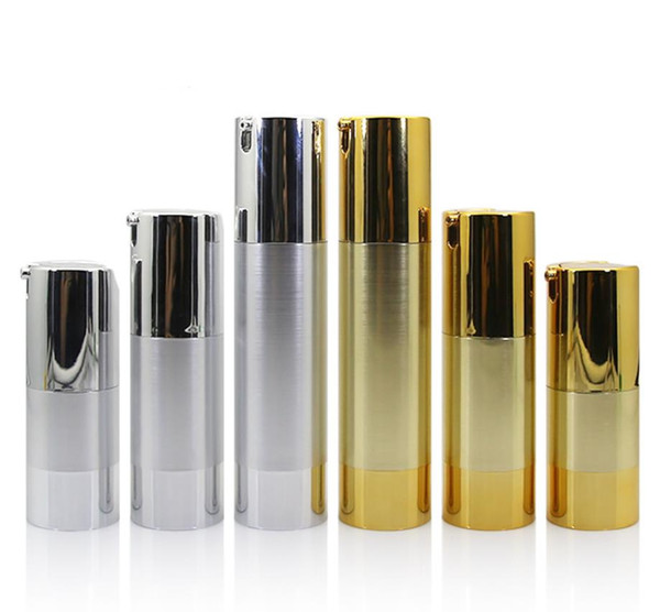 300 x 15ml 30ml 50ml Aluminium Airless Lotion Pumpen-Flasche 1OZ Airless Container 30ML Lotion Airless Verpackungen Gold-Silber-Farbe SN4084