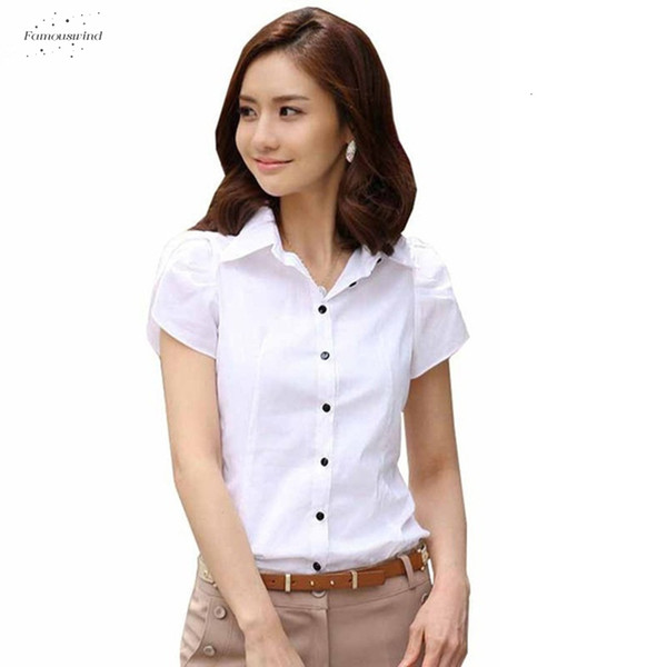 Le donne di moda camicetta corta chiffon manicotto gira giù parti superiori casuali femminili più il formato 5Xl Camicia Camicetta bianca