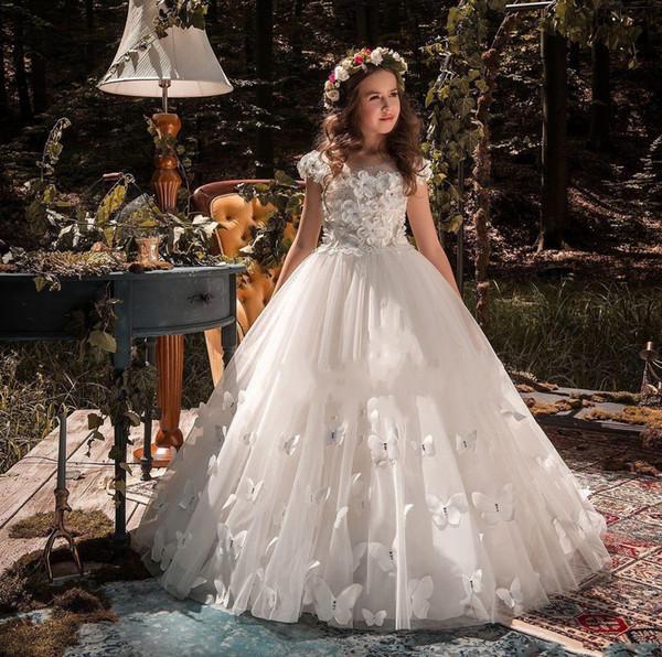 Tren ile Ucuz Biçimsel Durum Kelebek Çiçek Kız Elbise Aplike ilk komünyonu Parti Balo Prenses Elbise Gelinlik Düğün