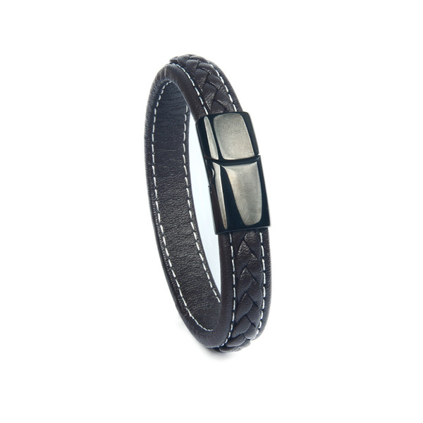 Best Quality Wholesale Black Genuine Leather Bangle Bracelet Stainless Steel Magnetic Buckle Clasps Bracelets Men And Women Gift Jewelry