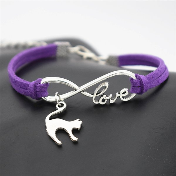 Vintage Infinito Amor Lindo Elegante Gato Amante Colgante hecho a mano tejida Púrpura Gamuza Cuff Pulseras Brazaletes para Mujeres Hombres Regalo de la joyería