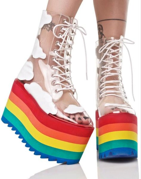 Rainbow thick bottom fashion transparent ankle boots PVC leather lace up show cool boots nightclubs cake bottom female boots