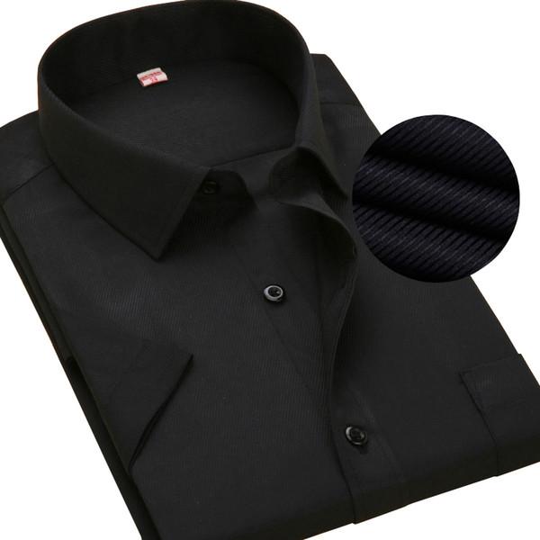 Short Sleeve Men Shirts Black Twill Mens Casual Shirts Summer Fashion Dress Slim Fit