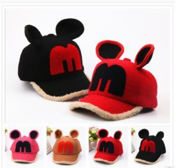 2019 Fall and Winter New Cute Mickey Baby Plus Down Warm Duck Tongue Hat Boys and Girls Baseball Hat Tide