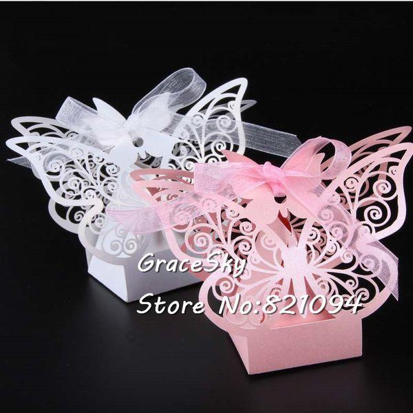 50 Adet / takım ücretsiz kargo Lazer Kesim Düğün Şeker kutuları Güzel Kelebek tasarım Kağıt Tutucu Hediye Kutuları Ev Partisi Dekorasyon Şekeri