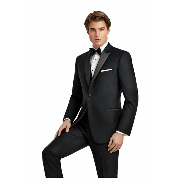 High Quality Black Mens Wedding Tuxedo Groom Suits Satin Peak Lapel Best Man Blazer Prom Party 3Piece Jacket Latest Designs Terno Masculino