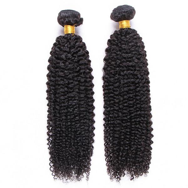 100 g / pieza 2 unids / lote Sin procesar brasileño Virgen mongol Kinky rizado rizado humano Remy Extensiones de la armadura del pelo