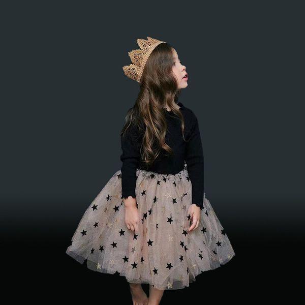 2019 Spring Stars Print Clothes for Girls Tutu Dress Long Sleeve Girls Ball Gown Dress Sequined Star Kids Dress