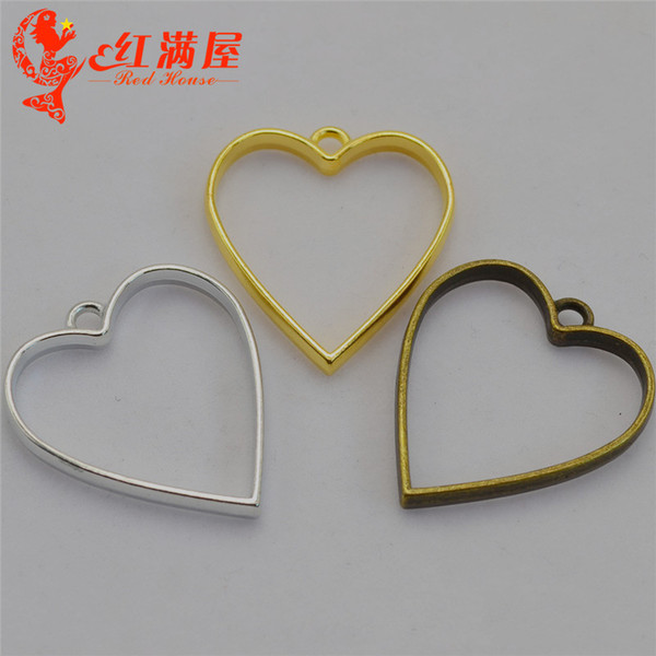 50pcs 30*34MM Antique bronze hollowed out geometric heart shape charms gold glue metal frame blank hollow pendants DIY jewelry making