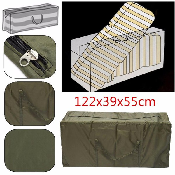 122*39*55cm Outdoor Patio Furniture Chaise Waterproof Protect Cover Storage Bag Christmas Tree Storage Cushion